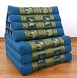 Asia Wohnstudio KAPOK THAIKISSEN DER Marke, Thaikissen mit 3 Auflagen und Edler Seidenstickeri, asiatisches Triangelkissen/Sitzkissen mit Einem großen Dreieck zur Entspannung (Hellblau/Elefanten)
