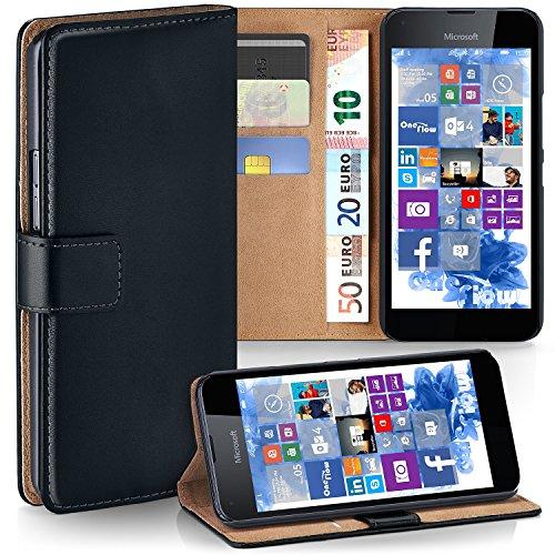 moex Microsoft Lumia 650 | Hülle Schwarz mit Karten-Fach 360° Book Klapp-Hülle Handytasche Kunst-Leder Handyhülle für Nokia Lumia 650 Case Flip Cover Schutzhülle Tasche