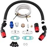 Aramox Oil Line Flange Kit,Turbo Oil Feed Return Line AN10 Fitting Adapter Flange Kit for T3 T4 GT35 T70 T66