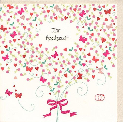 Hochzeitskarte gemalt Romantischer Strauß mit Herzchen
