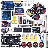 Neu smart Roboter Arduino Car Kit mit UNO R3, Line Tracking Modul, Ultraschallsensor, APP Steuerung via Smartphone usw. Auto Arduino Robot Spielzeug für Erwachsene und Kinder SM11