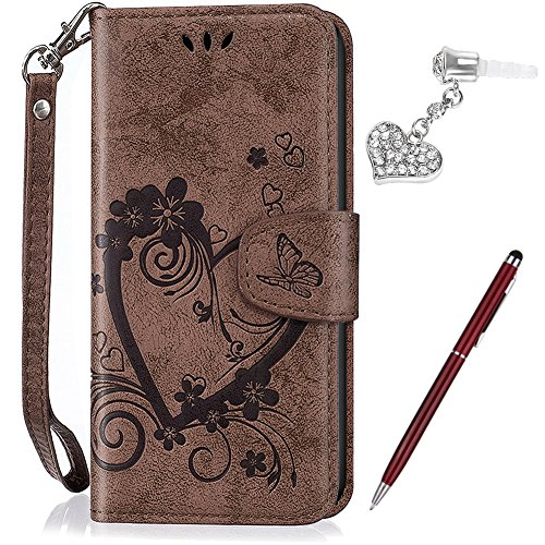 Huawei P9 Case,Huawei P9 Cover,ikasus Embossing Cat Butterfly Floral Flower Tree Pattern Premium PU Leather Fold Wallet Pouch Case Wallet Flip Cover Bookstyle Magnetic Closure with Card Slots & Stand Function Protective Case Cover + 1x Touch Pen + 1x Dust Plug for Huawei P9,Brown
