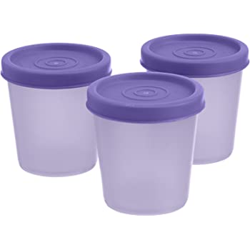 Signoraware Nano Round Medium Container Set, 90ml, Set of 3, Mauve