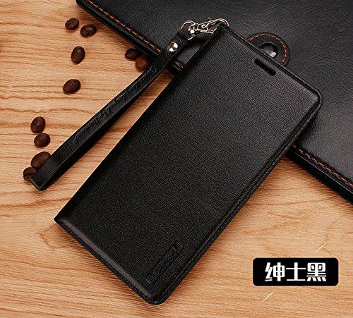 JMGoodstore Handyhülle Kompatibel Xiaomi Redmi S2,Premium PU Leder,360 Grad Ganzkörper Schützend Ständer Flip Schutzhülle mit Kartenfach Magnetverschluss Schwarz+Panzerglas Schutzfolie