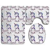 Bad-Teppiche, 3-Teiliges Badezimmer Teppich Set Yoga Einhorn Weiß, Rutschfest Flanell Contour Teppiche Antibakteriell Matte für Männer Frauen Kinder, Badezimmer Teppiche, Badezimmer Zubehör