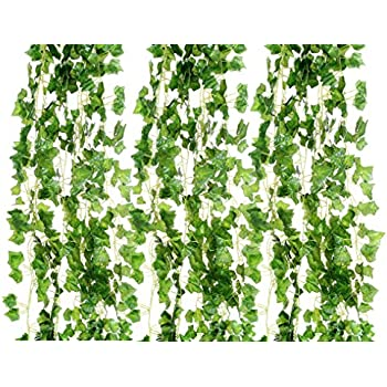 KUUQA 8 PCS Artificial Hanging Vines Faux Greenery Garland Willow Leaves Rattan Wicker Twig with 40 Stems for Jungle Party Wedding Party Home Garden Wall Decoration