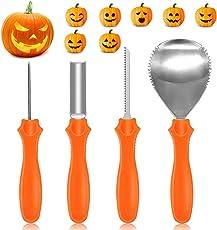 Yifone Kürbis-Schnitzset, Halloween Edelstahl Kürbis Schnitzwerkzeuge 4 teilig Wiederverwendbare inkl. 10 Schnitz-Vorlagen