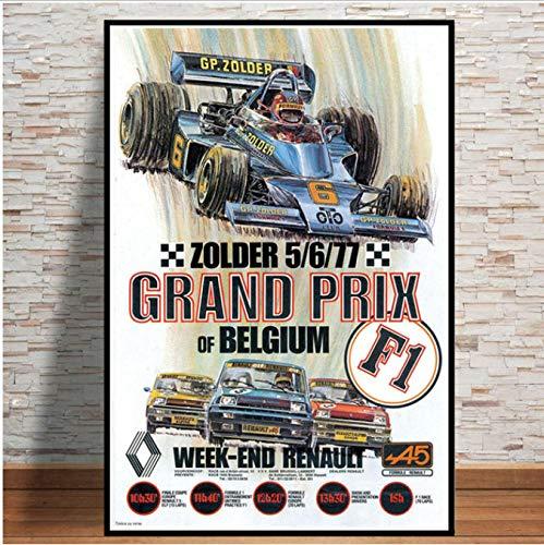 yhnjikl Grand Prix Super Rennwagen Retro Monaco Rennen 64. Motor Poster Wandkunst Leinwand Wandbild Malerei Für Room Home Decor 40X60 cm Ohne Rahmen -