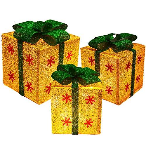 Set von 3Sparkling Sisal Geschenk-Boxen mit Bögen beleuchtet Weihnachten Home Garten Yard Art - Weihnachten Beleuchtete Geschenkboxen