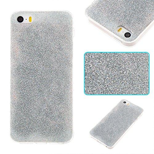 iPhone 5 Hülle, Voguecase Silikon Schutzhülle / Case / Cover / Hülle / TPU Gel Skin für Apple iPhone 5 5G 5S SE(Dijiao Glitzer-Silber) + Gratis Universal Eingabestift Dijiao Glitzer-Silber