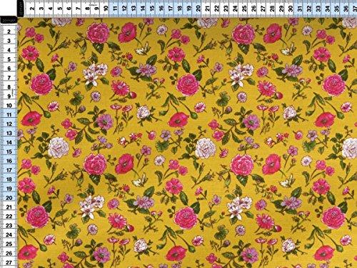 Tessuto da tappezzeria, rivestimento in tessuto, tessuto da tappezzeria, tessuto, tessuto della tenda, tessuto - Delia, giallo base, bunt - affascinante tessuto di miscela di tessuto stampato