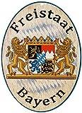 Kaltner Präsente Geschenkidee - Holz Schild Wandschild im Antik Design Motiv Wappen FREISTAAT BAYERN (Ø 18 cm)