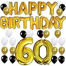 KUNGYO Letras Tipo Balón Doradas HAPPY BIRTHDAY+Número 60 Mylar Foil Globo+24 Piezas Negro Oro Blanco Globo de Látex- Perfecta 60 Años de Antigüedad Fiesta de Cumpleaños Decoraciones
