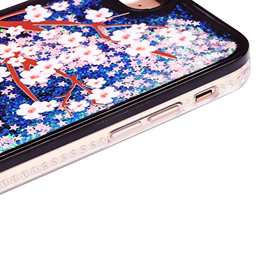 """iPhone 7 Handyhülle, iPhone 7 TPU Softcase, CLTPY Kreativ 3D Dynamisch Treibsand Glanz Fließen Flüssig Schwimmend Herz Stern Shale Etui, Schwarz Stoßfest Silikon Rückseite Hülle für 4.7"""" Apple iPhone  Pflaumenbaum"""