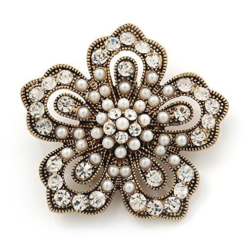 Unbekannt Vintage, Filigran, Kunstperlen/Strasssteine 'Flower'Brosche Antik Gold Metall,...
