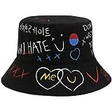 JFAN Sombrero Pescador Graffiti Plegable Bucket Hat on Estampado de Carta Sun Cap para Actividades al Aire Libre