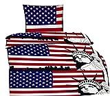 4 tlg. Bettwäsche Statue Garnitur Microfaser Bettbezug 135x200 cm Kissenbezug 80x80 cm SPARSET USA Flagge 135 / 4 tlg.