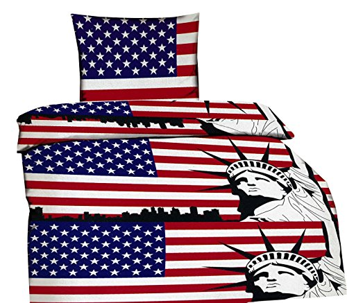 2 tlg. Bettwäsche USA Flagge 135 x 200 cm oder 155 x 220 cm in rot/blau aus Microfaser (Öko Tex Zertifiziert) (155 x 220 cm und 80 x 80 cm)