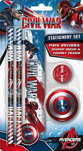 Marvel Captain America Civil War Stationery Set - Ruler, Pencils, Eraser & Sharpener