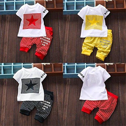 AmazingDays 2Pcs Infant Kid Boys Girl Letter Star Print Plaid Tops+Pants Outfits Clothes Set Baby Newborn Boys Unisex Outfits Bodysuit Rompers Jumpsuit Hooded Spring Summer Short Vest Clothes