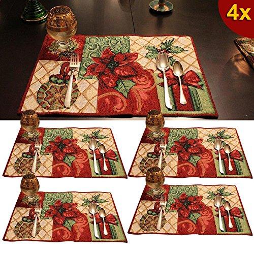 Hrph 4 manteles de algodón de las PC de Navidad aislamiento Vajilla Tapiz festivo de la herramienta Mantel de Navidad