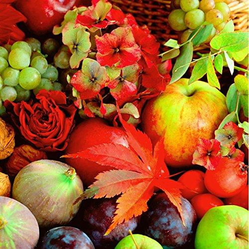 20 Servietten Potpourri - Bunte Herbstgeschenke / Blätter / Apfel / Weintrauben / Herbst 33x33cm