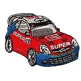 Toppe termoadesive - Super Auto macchina da corsa - rosso - 5,8x4,2cm - by catch-the-patch Patch Toppa ricamate Applicazioni Ricamata da cucire adesive