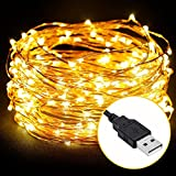 Cadena de Luces LED,10m 100 LEDs USB Guirnalda de Luces Flexible Alambre de Cobre Decoración para...