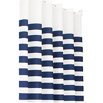 Moolecole Blue And White Striped Navy Style Curtain Bathroom Shower Curtains Thick Waterproof Mildew Polyester