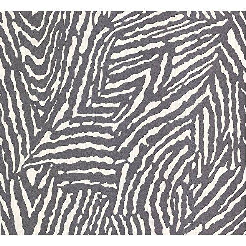 P&S International Zebra Haut Tier Aufdruck geprägt Muster Glitzer Streifen Tapete - 13581-20 dunkelgrau Pink Zebra Haut