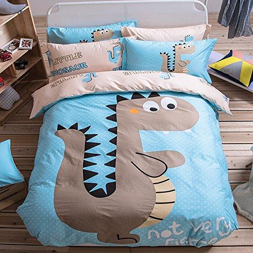YGJT Juego Ropa de Cama para Niños 4 piezas 1 Funda del edredón 2 Funda de la almohada y 1 sábana Algodón Forma de Dinosaurio Color Azul Claro