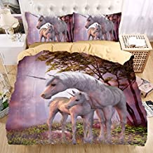 Unicornio en el bosque 3d juego de ropa de cama de funda nórdica hermoso patrón real efecto realista ropa de cama alta calidad, 100% poliéster, Unicorn in the woods, suelto