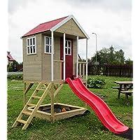 Kinderspielhaus Spielhaus Holz Mit Sandkasten, Rutsche, Plattform Und  Treppe   NH