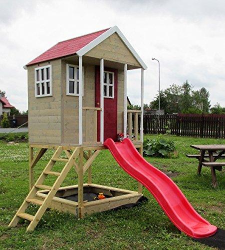 Kinderspielhaus Spielhaus Holz mit Sandkasten, Rutsche, Plattform und Treppe - NH