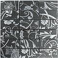 Teros Feinsteinzeug Mosaik Fliesen Ornament Flower Blume Dunkelgrau Silber von Mosafil auf TapetenShop