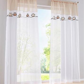 simpvale 2-pieces owl modello ricamato finestra tende per ... - Tende Per Soggiorno Immagini 2