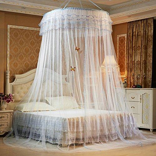 GRD Moskitonetz Prinzessin Traum Schmetterling Kuppel mücken Netz Doppelbett Reise with A Full Hanging Kit (weiß)