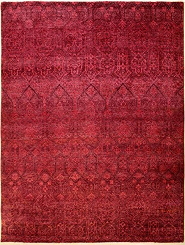 RugsTC 244 x 297 Chobi Ziegler Area Rug Made Using Vegetable Dyes with Wool Pile Hand-Knotted in Red,Maroon,Pink Colors | a 244 x 305 Rectangular Double Knot Rug -