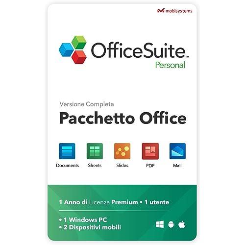 OfficeSuite Personal Compatibile con Microsoft® Office Word Excel & PowerPoint® e Adobe PDF per PC Windows 10, 8.1, 8, 7 - 1 anno di licenza, 1 utente