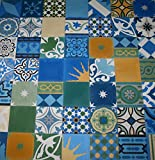 1 m² buntes Patchwork grün, blau gelb bunt 906 Fliesen Patchwork Zementfliesen bunt grün blau