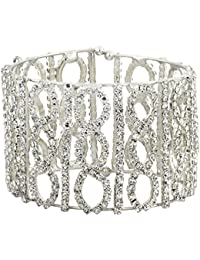 The Jewelbox Free Size American Diamond Rhodium Plated Cuff Kada Bangle For Women