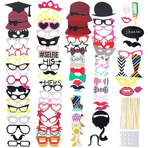 lictin-86-pezzi-photo-booth-props-accessori-fai-da-te-colorati-occhiali-baffi-labbra-farfallino-capp