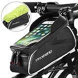 Borsa Bici Telaio DeFe Borse Bicicletta Manubrio Impermeabile con Touchscreen TPU Sensibile (fino a 6,2 pollici), Borsa Telefono MTB Porta Cellulare Bici per iPhone X/ 8/ Plus Samsung S9/ S8/ S7 (Nero)