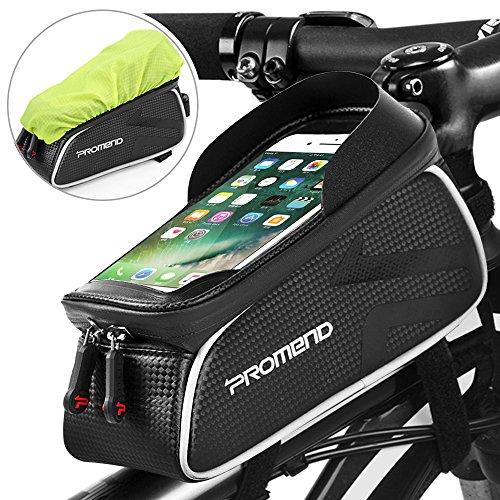 Bolsa Bicicleta Cuadro Impermeable Bolso Manillar Bici Con Pantalla Táctil Sensible, Marco Tubo Funda Movil Bicicleta para iPhone X/ 8/ Plus Samsung S9/ S8/ S7 Bolsas Bici Telefono hasta 6,2' (Negro)