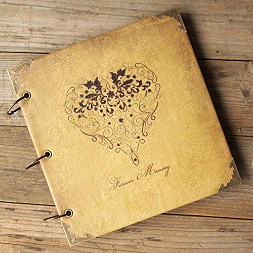 Memory Album Scrapbooking (SAIBANG Retro Leder DIY Fotoalbum, 3Ringe Hochzeit Gästebuch Scrapbooking handgefertigt Album-Forever Memory)