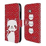Head Case Designs Rot Und Weisse Katze Cardigan Hülle Kollektion Brieftasche Handyhülle aus Leder für Microsoft Lumia 640 / Dual SIM