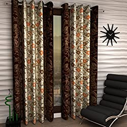 Home Sizzler Floral 4 Piece Eyelet Polyester Door Curtain Set - 7ft , Brown