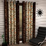 #9: Home Sizzler Floral 2 Piece Eyelet Polyester Door Curtain Set  - 7ft , Brown
