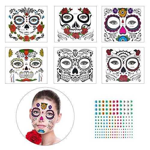 Kostüm Skull Kinder Sugar - KATOOM 6er Halloween Masken Skull Temporäre Tattoo Gesicht Edelsteine Allerheiligen Deko Blumen Aufkleber für Karneval Festival Party Cosplay