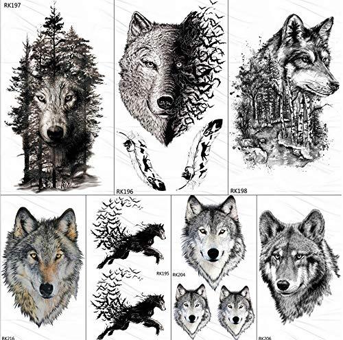 Tier Kostüm Benutzerdefinierte - yyyDL Kunst temporäre Tätowierung Aufkleber 85D Black Wolf Forest Tattoos Temporäre Aufkleber Baum Wilde Tier Fake Tattoo Für Männer Body Art Benutzerdefinierte Tatoos 10 * 6 cm 7 stücke